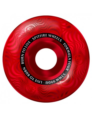 SPITFIRE WHEELS (JEU DE 4) 53MM F4 99D MULTISWIRL RED