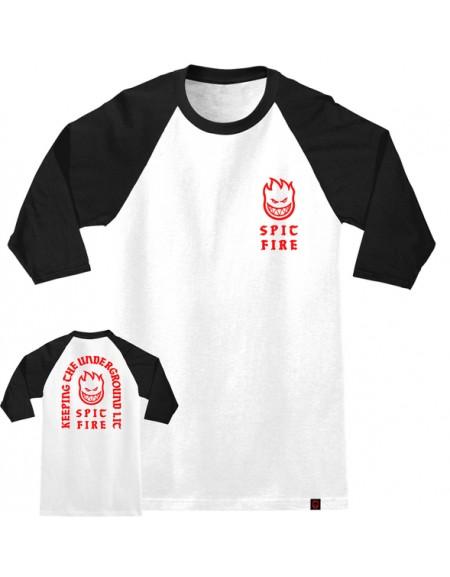 SPITFIRE T-SHIRT 3-4 SV RAGLAN STEADY ROCKIN WHITE-BLACK RED