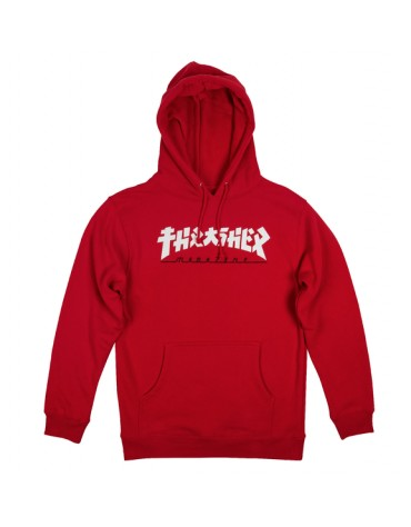 THRASHER SWEAT GODZILLA HOOD RED