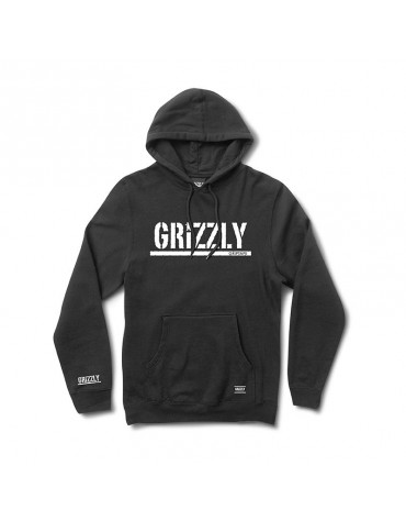 GRIZZLY SWEAT OG STAMP HOOD BLACK WHITE