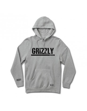 GRIZZLY SWEAT OG STAMP HOOD HEATHER GREY BLACK