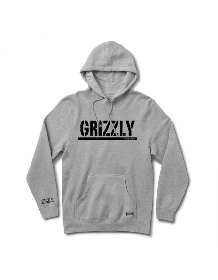 GRIZZLY SWEAT OG STAMP HOOD HEATHER GREY BLACK