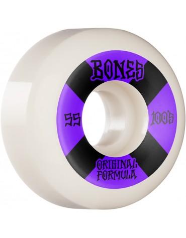 BONES WHEELS (JEU DE 4) 100'S 55MM V5 #4 WHITE SID
