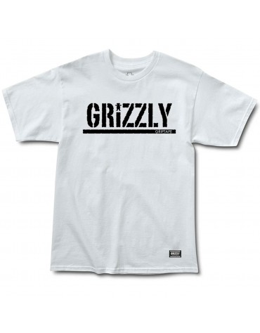 GRIZZLY T-SHIRT STAMP SS WHITE BLK
